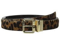 Cole Haan 25Mm Reversible Printed Haircalf To Patent Belt Leopard Black Women's Belts