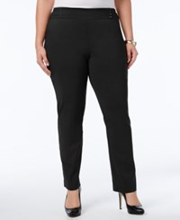 Jm Collection Plus Size Tummy Control Pull On Slim Leg Pants Deep Black