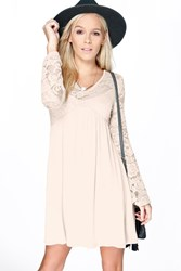 Petite Mia V Neck Flute Sleeve Smock Dress