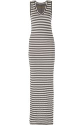 Enza Costa Striped Pima Cotton Maxi Dress Light Gray