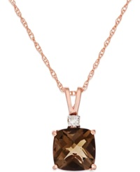 Macy's Smoky Quartz 1 2 3 Ct. T.W. And Diamond Accent Pendant Necklace In 14K Rose Gold