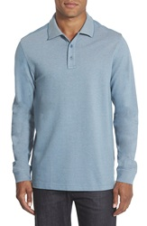 Nordstrom Long Sleeve Pique Polo Big Teal Steel