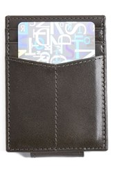 Men's Johnston And Murphy Leather Money Clip Card Case Grey Charcoal