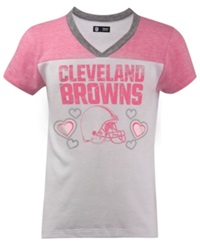 5Th And Ocean Girls' Cleveland Browns Pink V Neck T Shirt