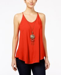 Amy Byer Bcx Juniors' Sleeveless Necklace Blouse Orange