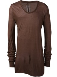 Rick Owens Long Length T Shirt Brown
