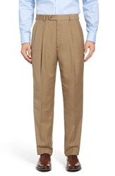 Linea Naturale Men's Big And Tall Pleated Microfiber Dress Pants Taupe