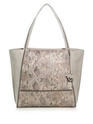 Botkier New York Soho Zipper Trimmed Snakeskin And Leather Tote Beige
