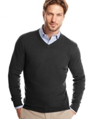 Club Room Cashmere V Neck Solid Sweater Dark Charcoal Heather