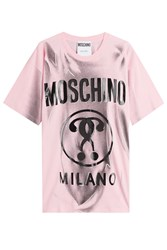 Moschino Cotton Logo Print T Shirt Rose