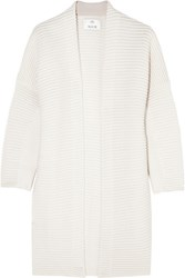 Allude Ribbed Cashmere And Wool Blend Cardigan Ivory