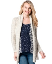 Motherhood Maternity Open Front Shawl Collar Cardigan Cream
