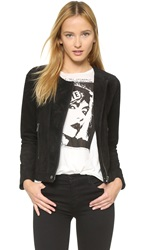 Chaser Suede Collarless Leather Jacket Black