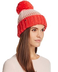 Kate Spade New York Hand Knit Color Block Beanie With Pom Pom Persimmon