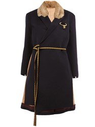 Undercover Collar Detail Contrast Belt Coat Blue