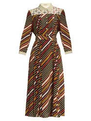Bottega Veneta Diagonal Print Silk Crepe Midi Dress Burgundy Multi