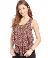 Amy Byer Bcx Juniors' Tiered Necklace Tank Top