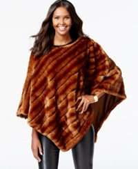 Inc International Concepts Faux Fur Bias Stripe Poncho Only At Macy's Whiskey Mink