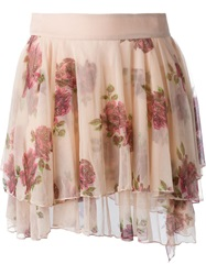 Diesel Floral Print Mesh Pleated Skirt Pink And Purple