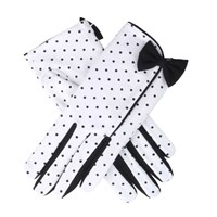 Dents Ladies Spotted Cotton Glove Black White