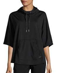 Betsey Johnson Hooded Pullover Poncho Black