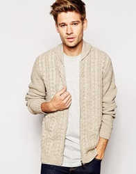 Asos Cable Knit Bomber Jacket Beige