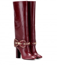 Tory Burch Kingsbridge Embellished Leather Knee High Boots Red