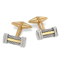 Forzieri Di Fulco Line Gold And Stainless Steel Cufflinks Silver