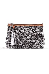 M Missoni Textured Raffia Shoulder Bag Black