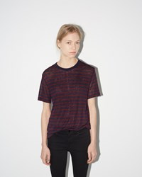 Alexander Wang Stripe Linen Tee Aubergine And Navy