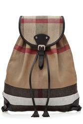 Burberry Shoes And Accessories Chiltern Printed Jute Backpack With Leather Multicolor