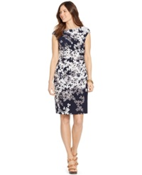 American Living Ruched Floral Print Dress Navy Green
