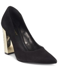Nine West Zealand Pointed Gold Block Heel Pumps Women's Shoes Black Suede