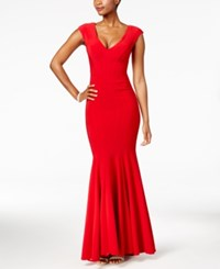 Betsy And Adam V Neck Mermaid Gown Red