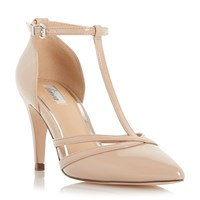Linea Clarice Pointed Toe T Bar Court Shoes Nude