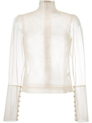 Simone Rocha Sheer Blouse Nude And Neutrals
