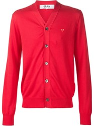 Comme Des Gara Ons Play V Neck Cardigan Red