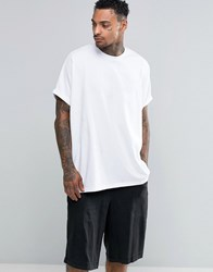 Asos Extreme Oversized T Shirt With Roll Sleeve In White Heavy Jersey White