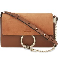 Chloe Faye Small Leather Suede Clutch Tobacco