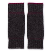 Tandshop Handknitted Fingerless Lambswool Mittens Burgundy And Grey
