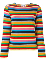 Comme Des Garcons Girl Striped Sweater Yellow And Orange