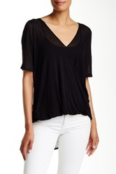 Abound Short Sleeve Knit Wrap Tee Black