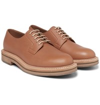 Brunello Cucinelli Leather Derby Shoes Tan