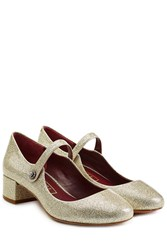 Marc Jacobs Glitter Coated Leather Mary Jane Pumps White