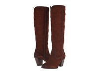 Frye Renee Seam Tall Brown Oiled Suede Cowboy Boots