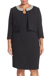 Plus Size Women's Tahari Embellished Neck Crepe Jacket Dress Plus Size