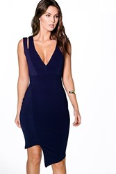 Boohoo Cut Out Asymmetric Bodycon Dress Navy