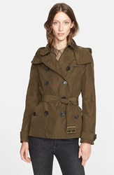 Women's Burberry Brit 'Balmoral' Cropped Trench Coat With Detachable Hood Dark Olive