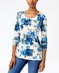 Karen Scott Petite Floral Print T Shirt Only At Macy's Bright Blue