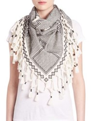 Tory Burch Embroidered Linen And Cotton Triangle Scarf Ivory Grey